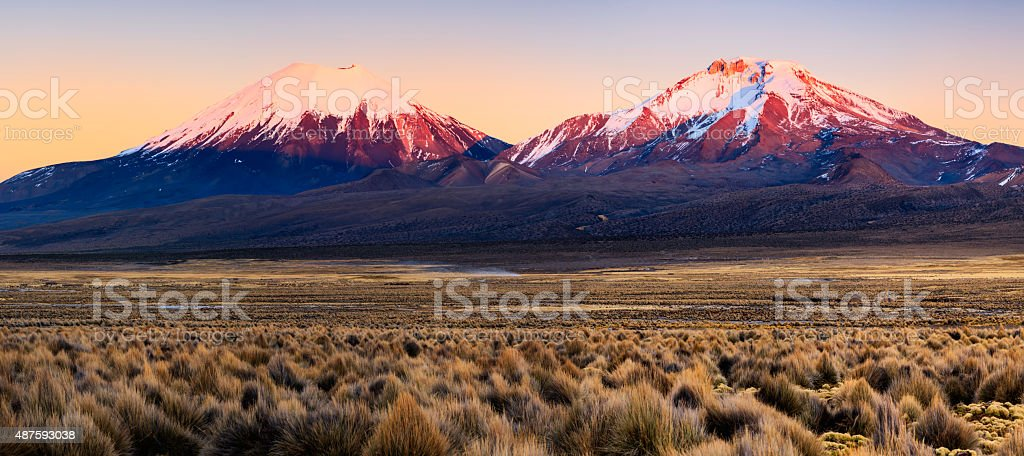 Sunrise over Parinacota Volcano in Sajama National Park, Bolivia stock photo