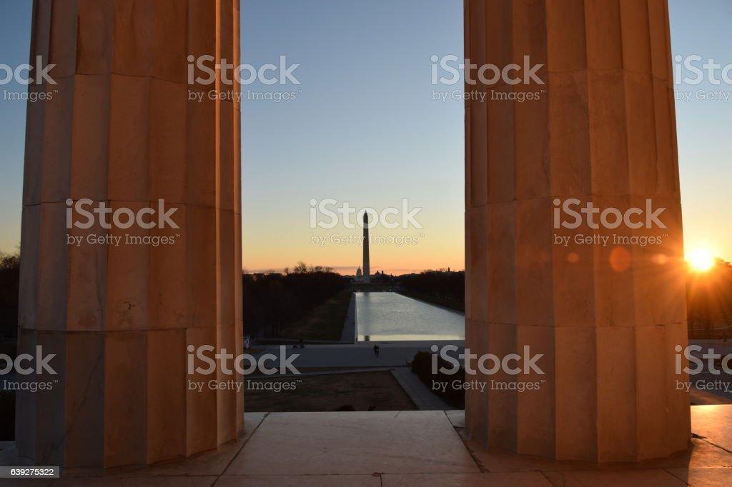 Sunrise over pillars stock photo