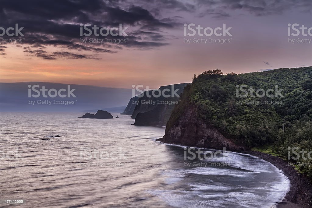 Sunrise over Pololu Valley stock photo