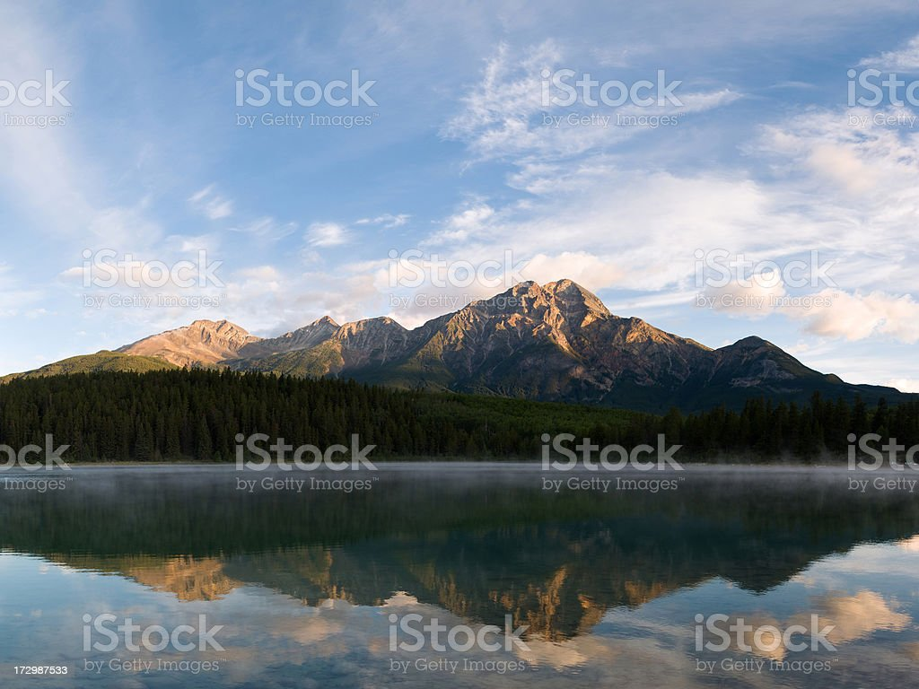 Sunrise over Pyramid Mountain stock photo
