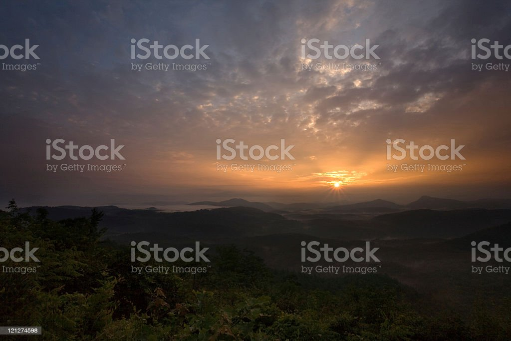 Sunrise over Rainforest royalty-free stock photo