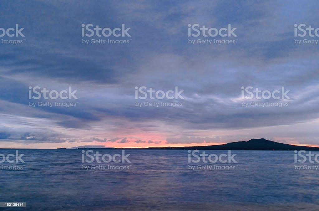 Sunrise over Rangitoto stock photo