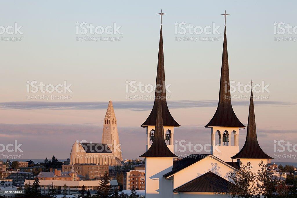 Sunrise over Reykjavík's Lutheran churches Iceland stock photo