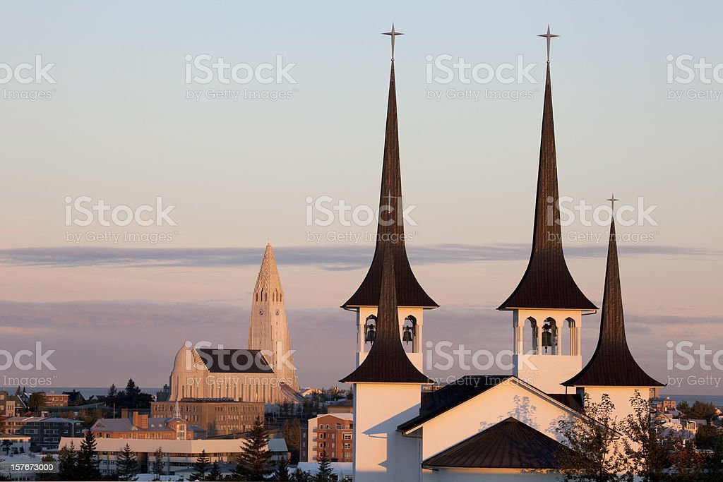 Sunrise over Reykjavík's Lutheran churches Iceland stock photo