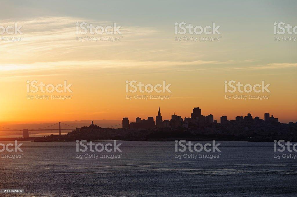 sunrise over San Francisco stock photo