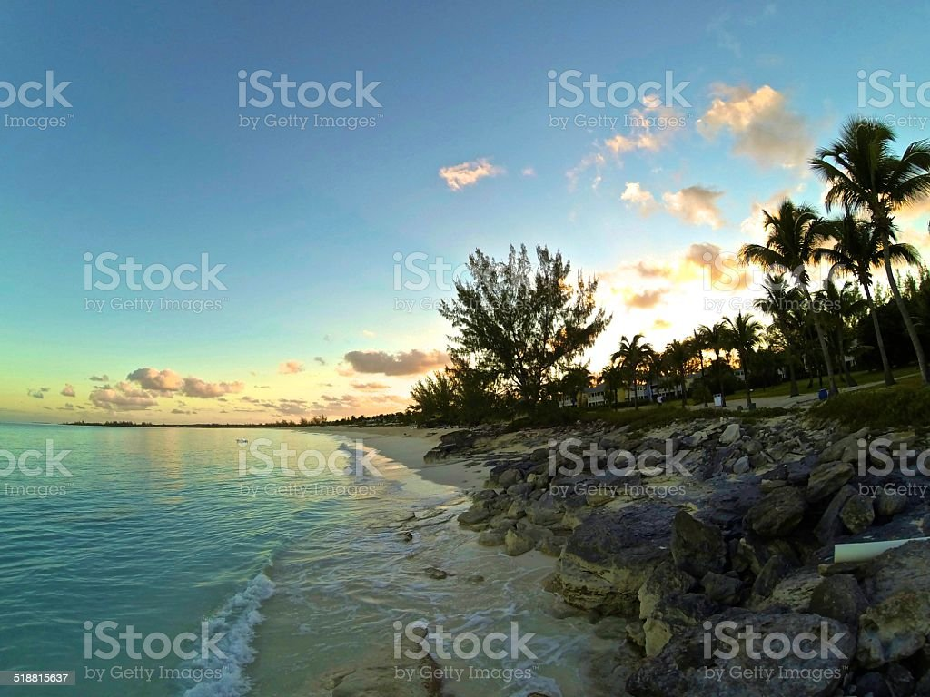 Sunrise over San Salvador, Bahamas stock photo