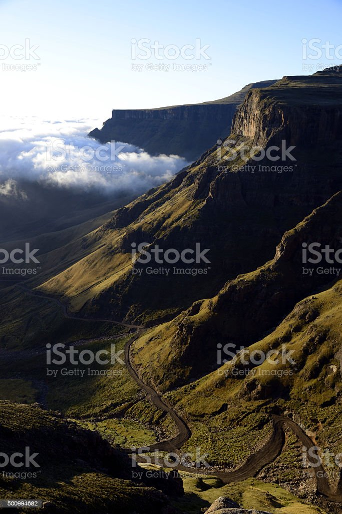 Sunrise over Sani Pass, Lesotho stock photo