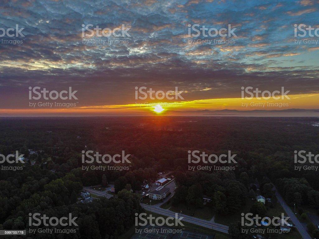 Sunrise over Saratoga Springs, NY stock photo