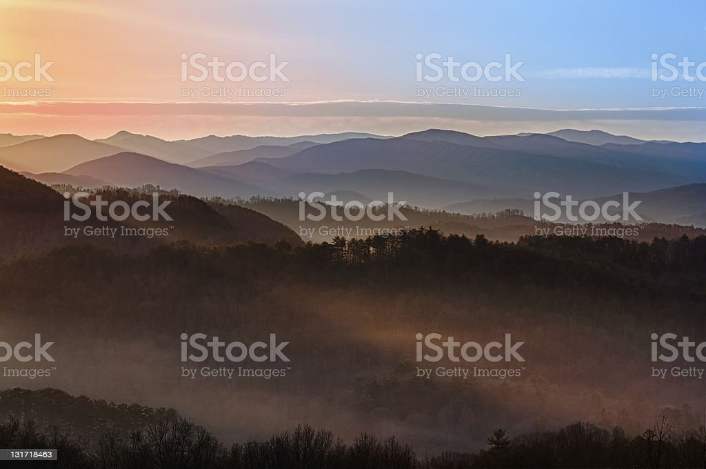 Sunrise over Smoky Mountains stock photo