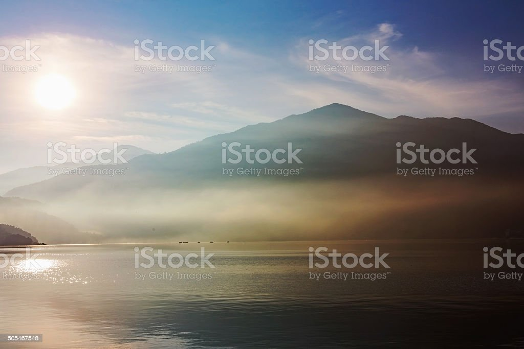 Sunrise over Sun Moon Lake stock photo