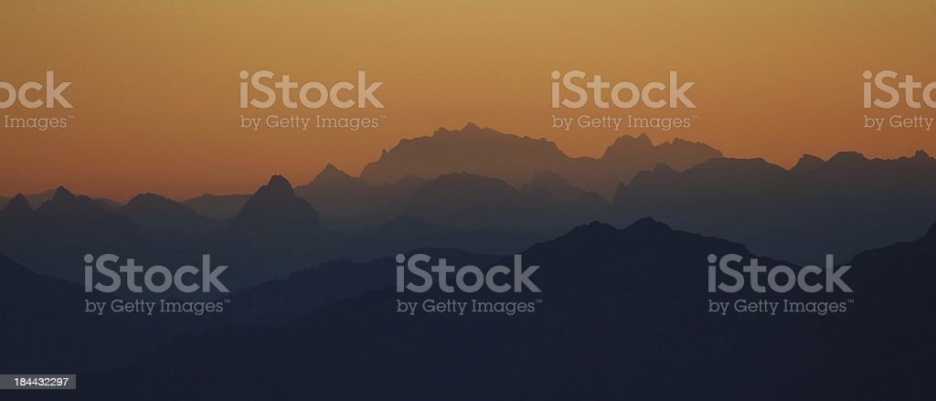 Sunrise over the Alps royalty-free stock photo