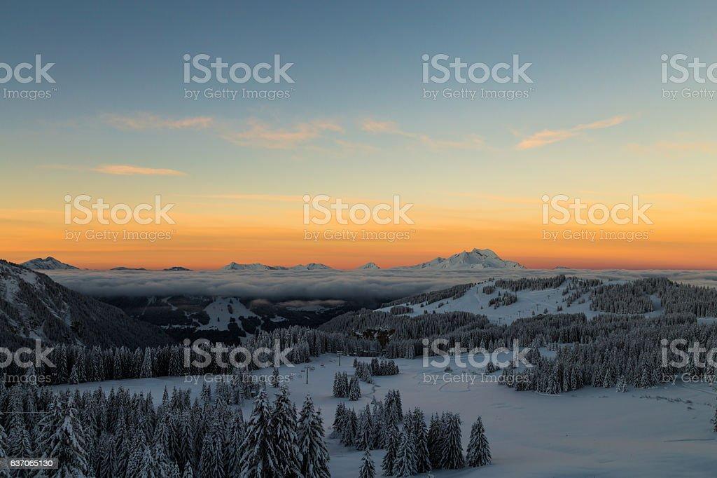 Sunrise over the Alps stock photo