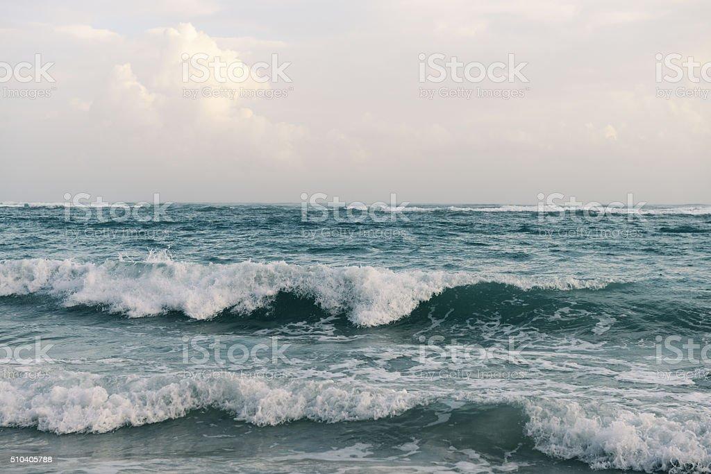 sunrise over the Atlantic, sandy beach and the sea. stock photo