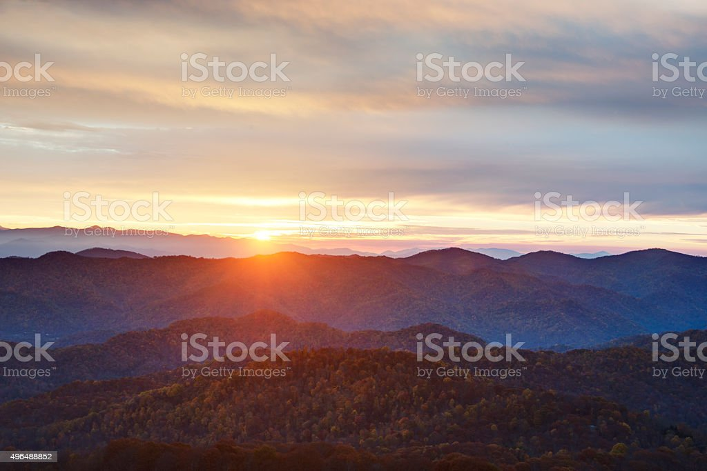Sunrise over the Blue Ridge Mountains stock photo