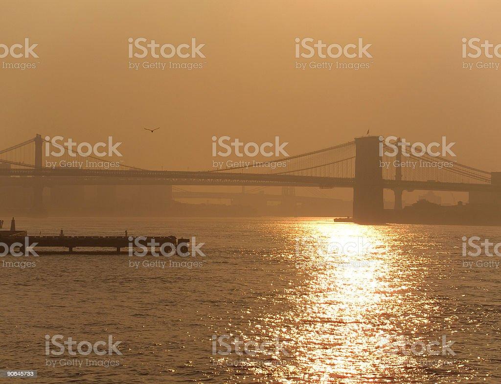 Sunrise over the Brooklyn Bridge royalty-free stock photo