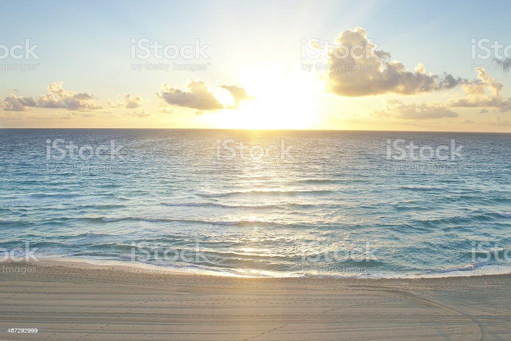 Sunrise over the Caribbean Sea Mexico stock photo
