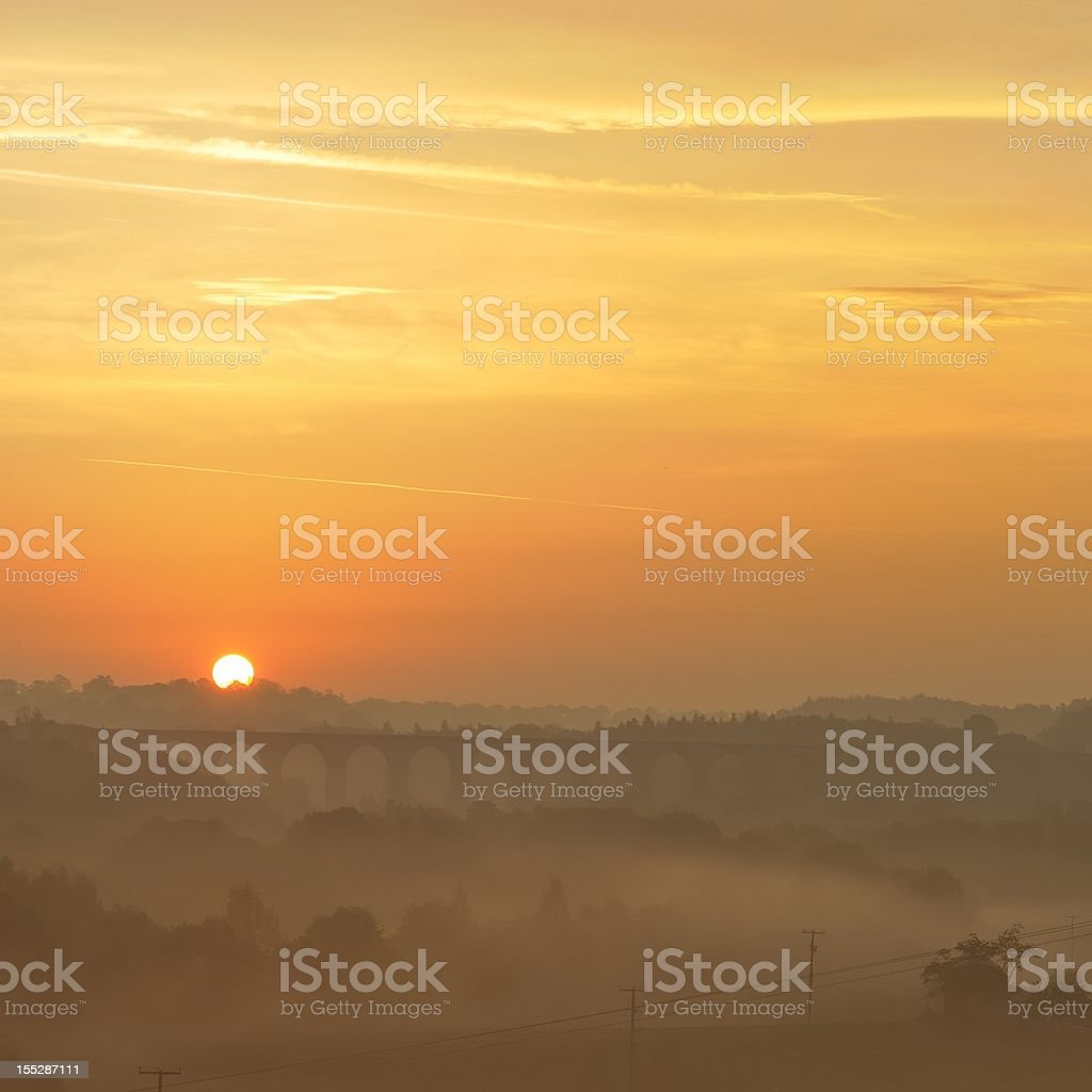 Sunrise over the Cefn Viaduct royalty-free stock photo