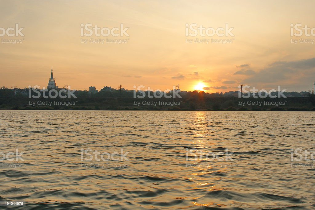 Sunrise over the city with a view of river royalty-free stock photo
