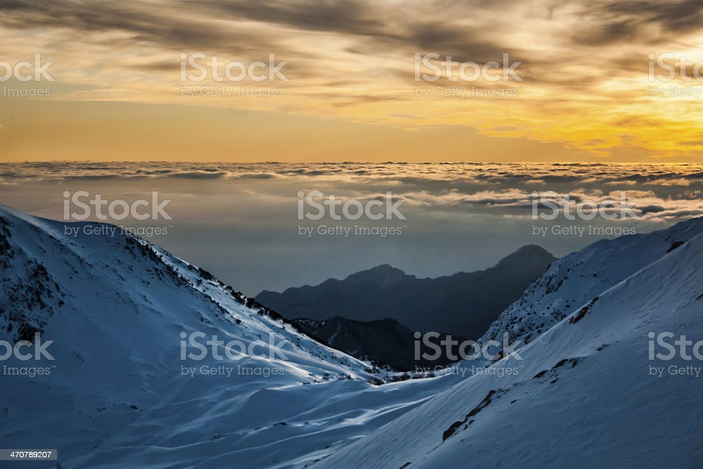 Sunrise over the clouds royalty-free stock photo