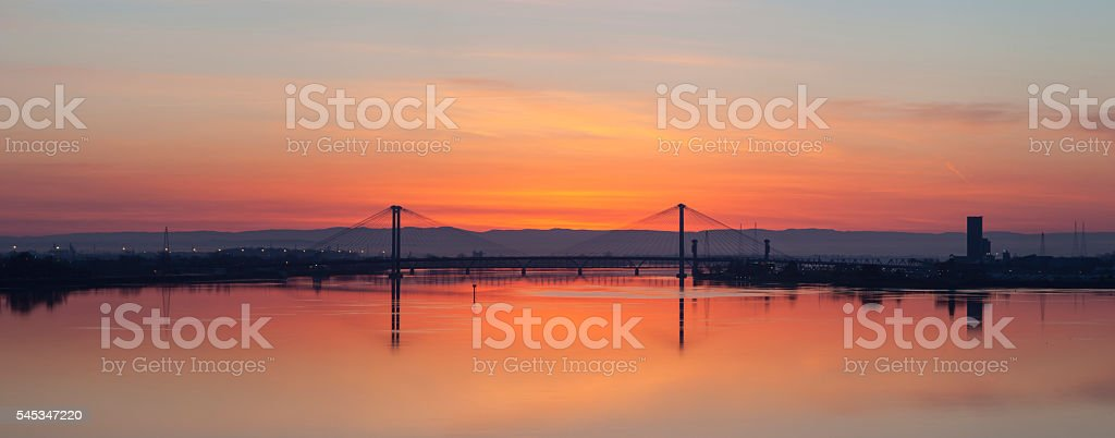 Sunrise over the Columbia River in Southeast Washington State stock photo