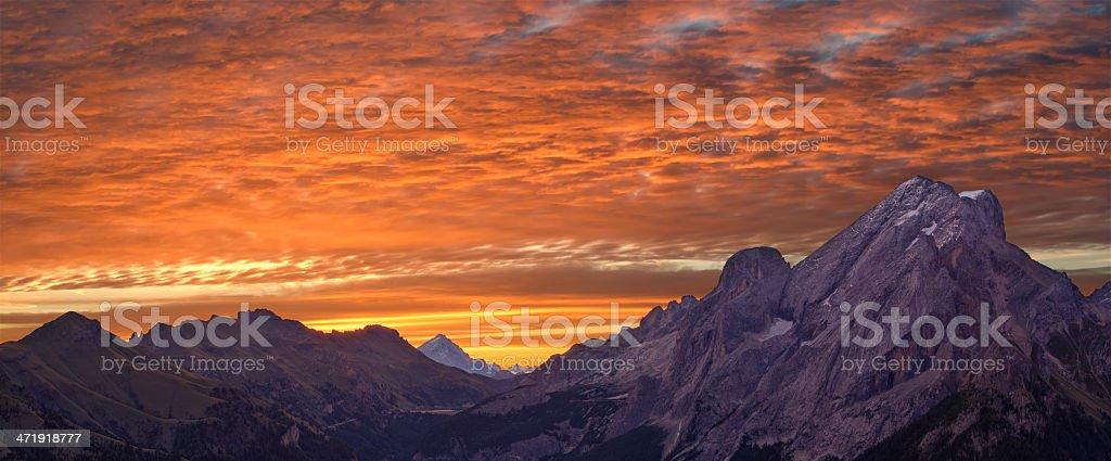 Sunrise over the Dolomites (Italy) stock photo