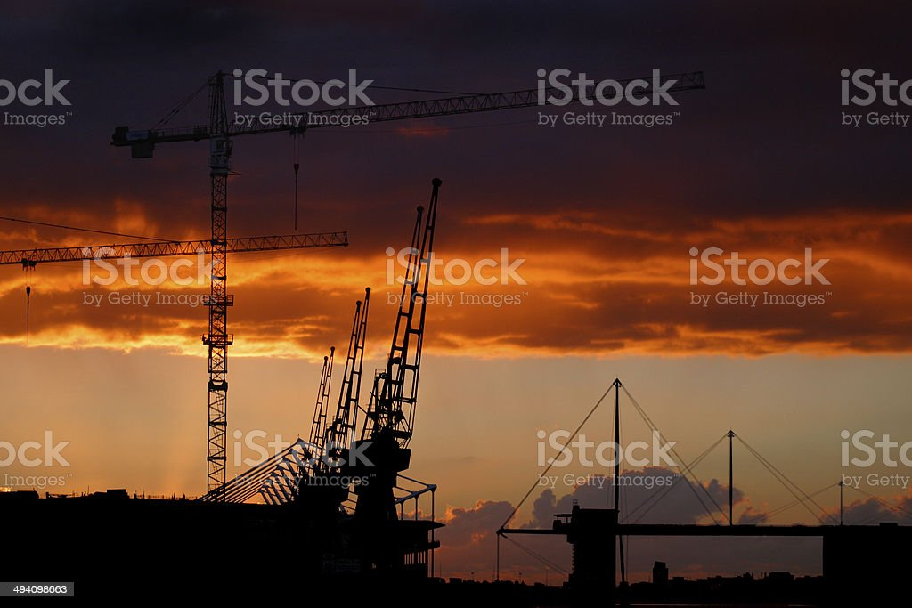 Sunrise over the Excel center in London stock photo