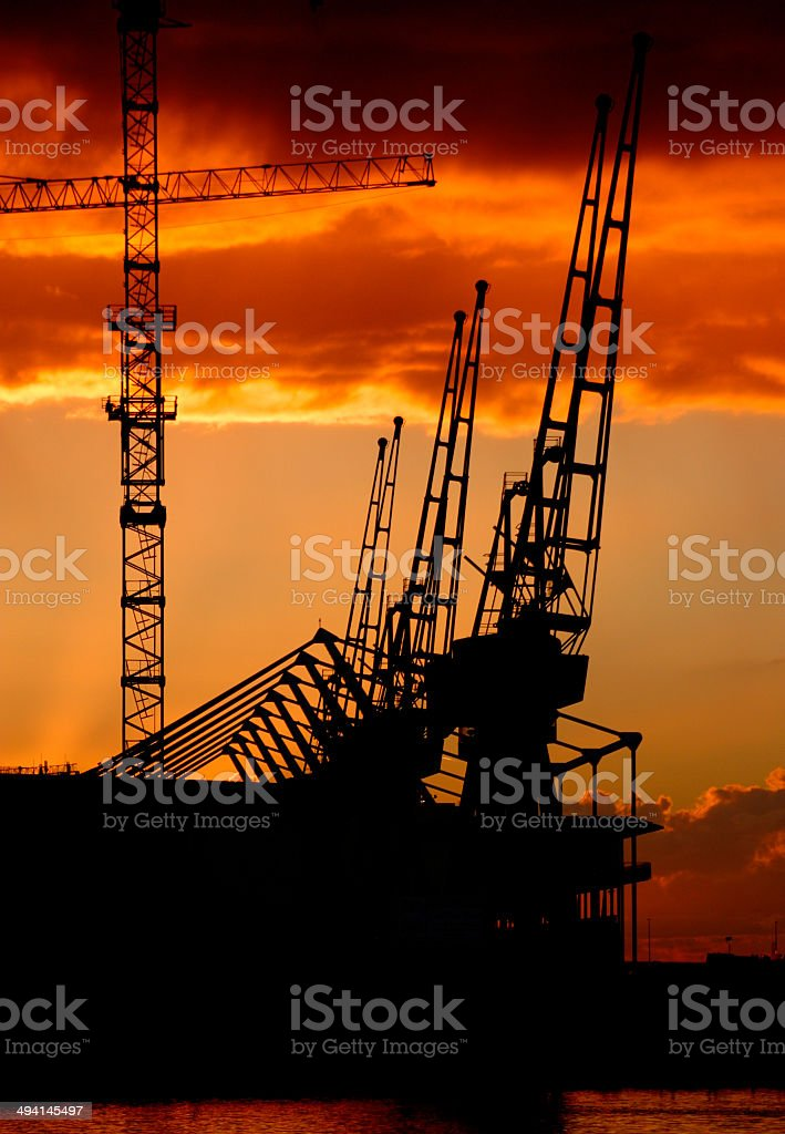 Sunrise over the Excel centre in London stock photo