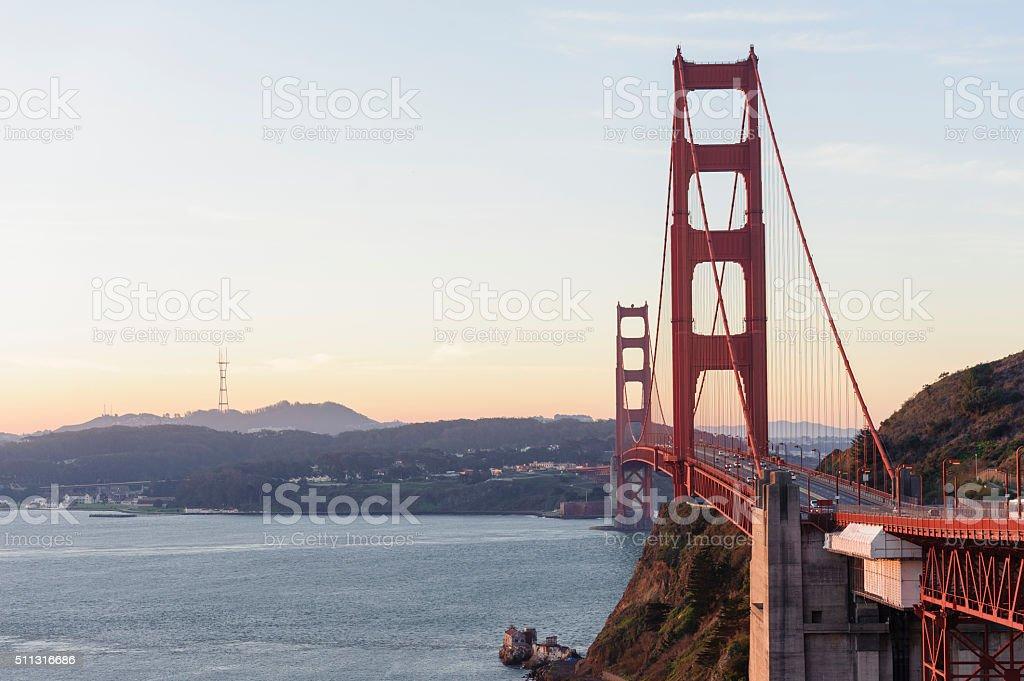 sunrise over the golden gate bridge, san francisco stock photo