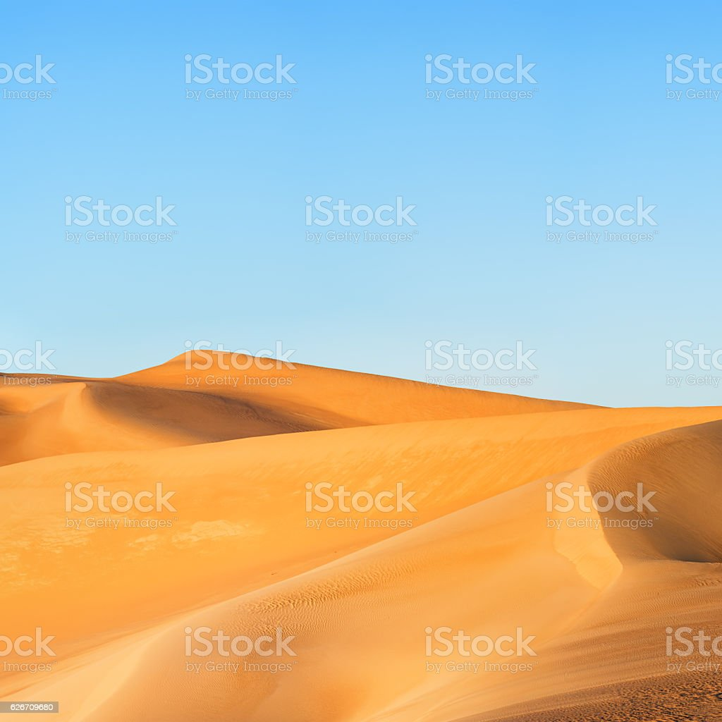 Sunrise over The Great Sand Sea, Libyan Desert, Africa stock photo