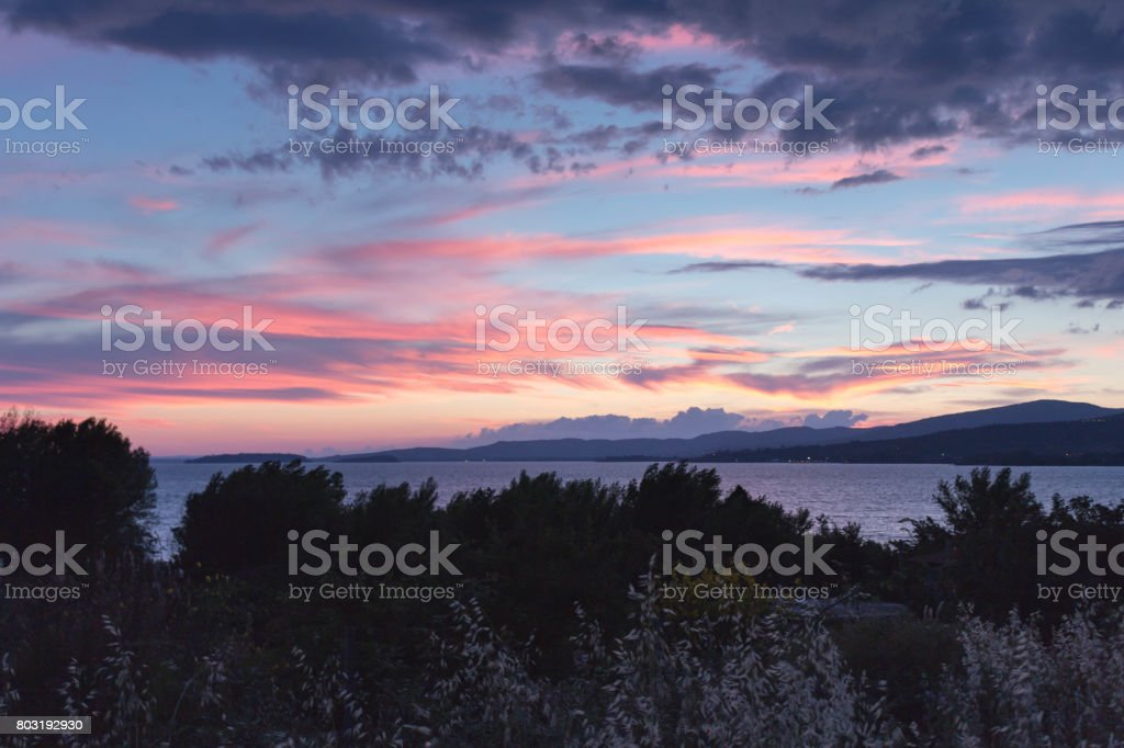 Sunrise over the lake stock photo