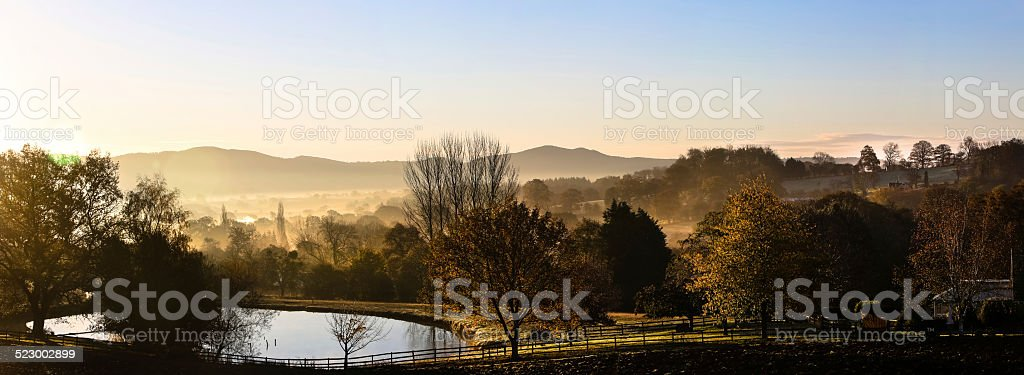 Sunrise over the Malvern Hills from Herefordshire stock photo