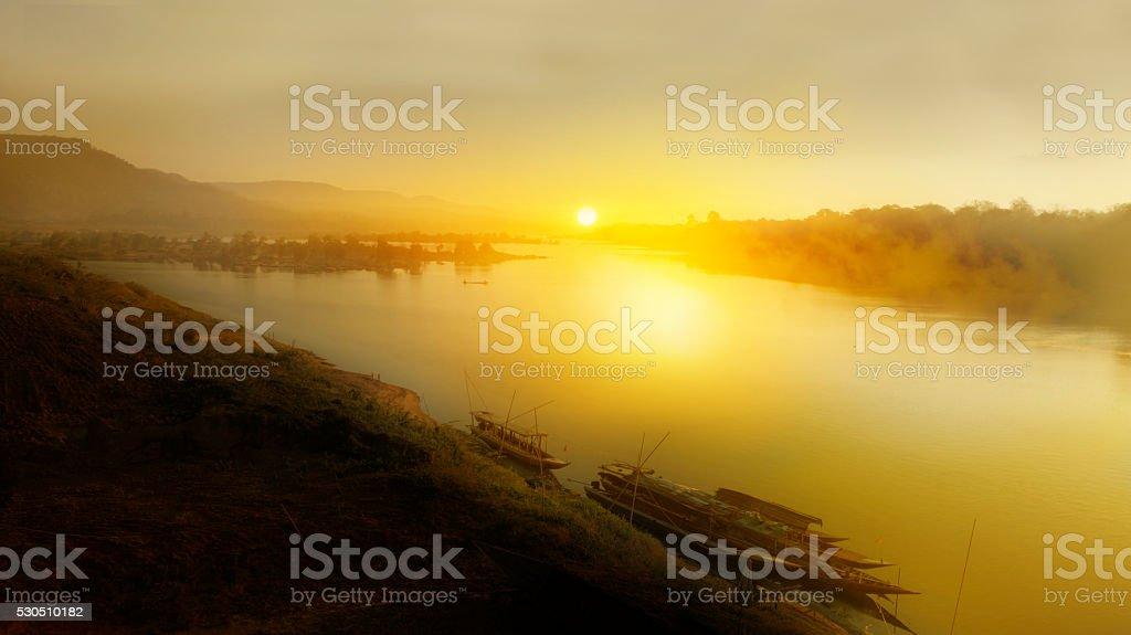 Sunrise over the Mekong River stock photo