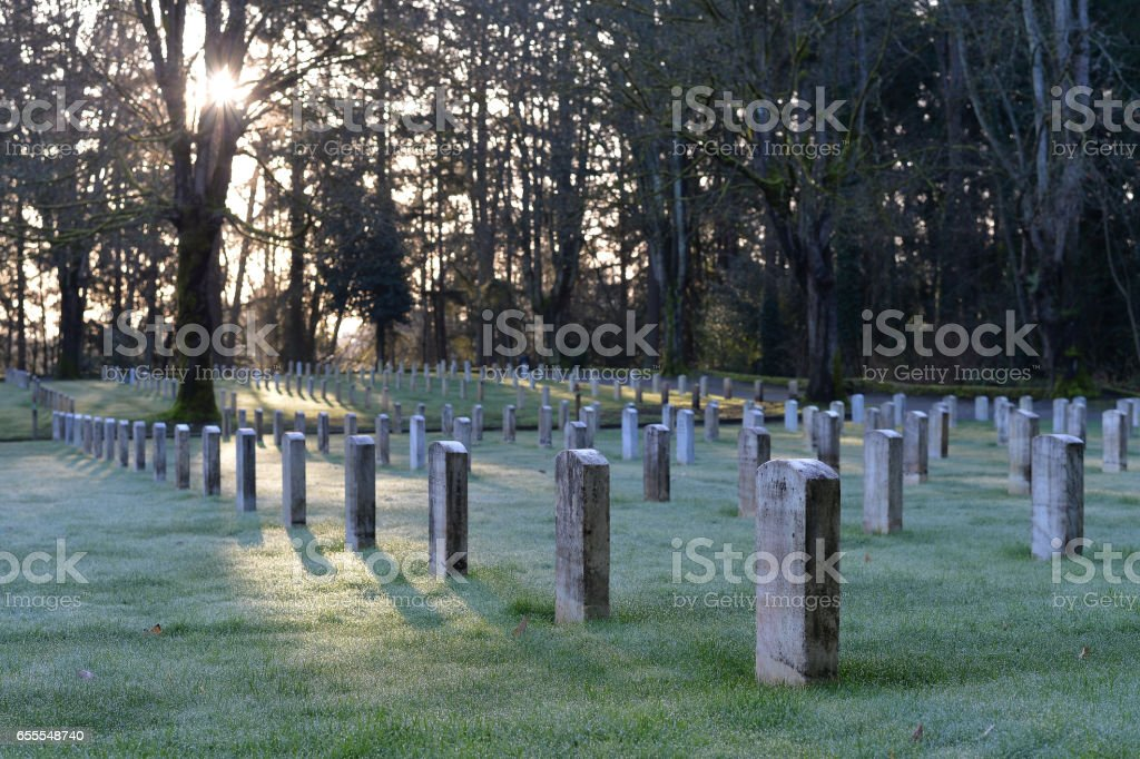 Sunrise over the Military Cemetary stock photo
