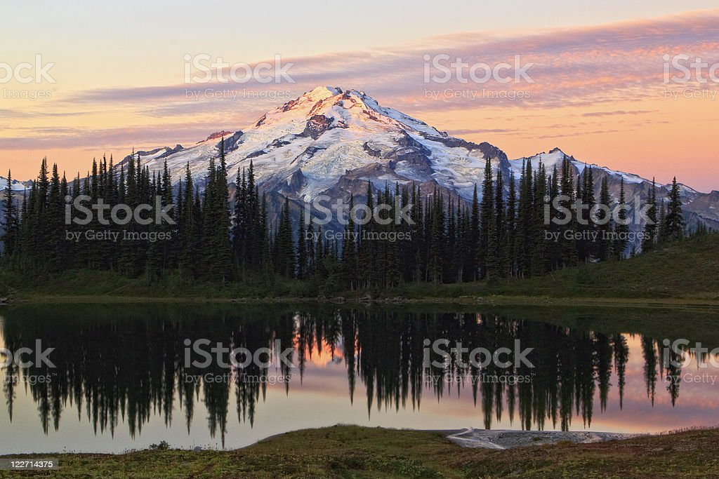 Sunrise over the mountain with a lake royalty-free stock photo