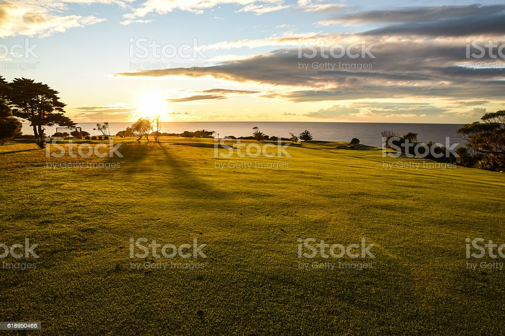 Sunrise over the ocean at Narooma stock photo