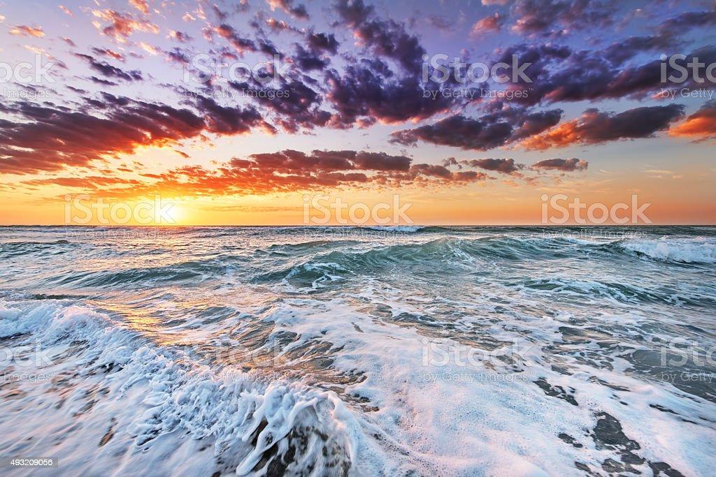 Sunrise over the ocean. stock photo