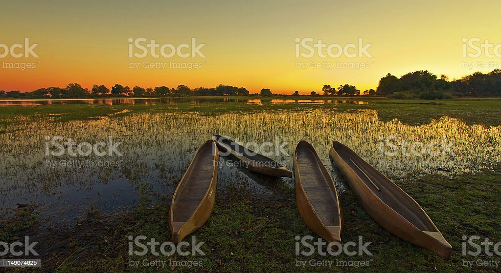 Sunrise over the Okavango Delta stock photo