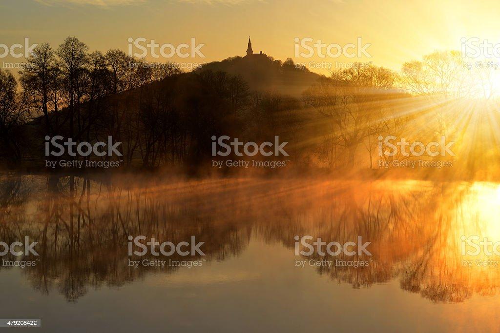 Sunrise over the pond in Czech Republic stock photo
