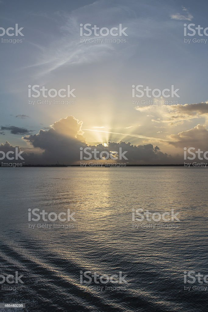 Sunrise over the Port of Spain Ocean View royalty-free stock photo
