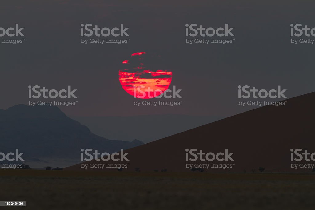 Sunrise over the red dunes of Sossusvlei, Namibia stock photo
