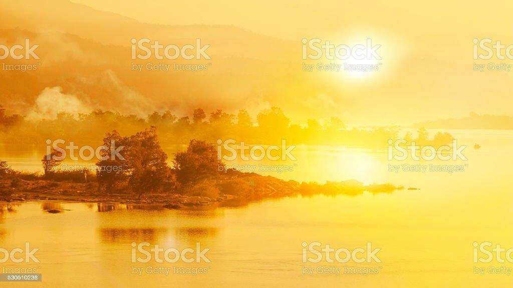 Sunrise over the river stock photo