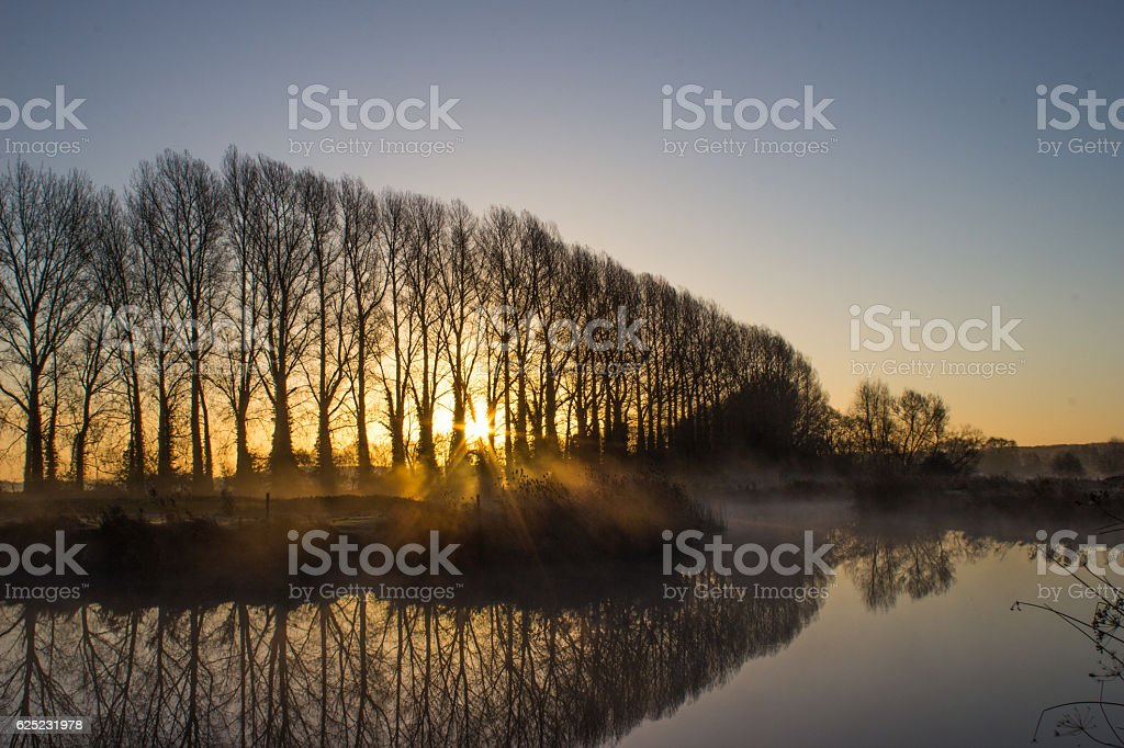 Sunrise Over the River Thames stock photo