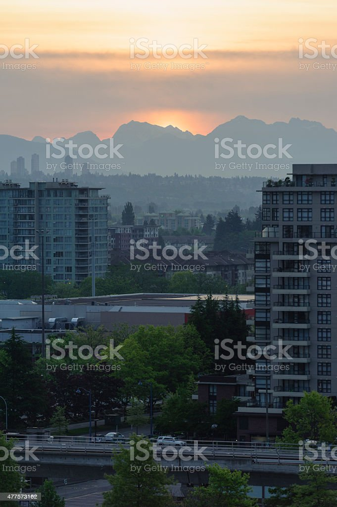 sunrise over the rocky mountains, vancouver stock photo