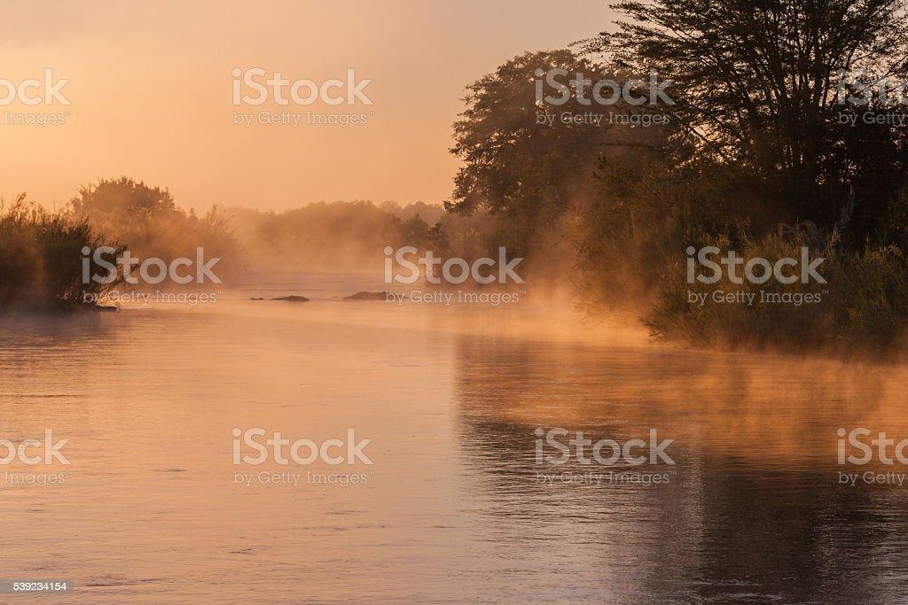 Sunrise over the Sabie stock photo