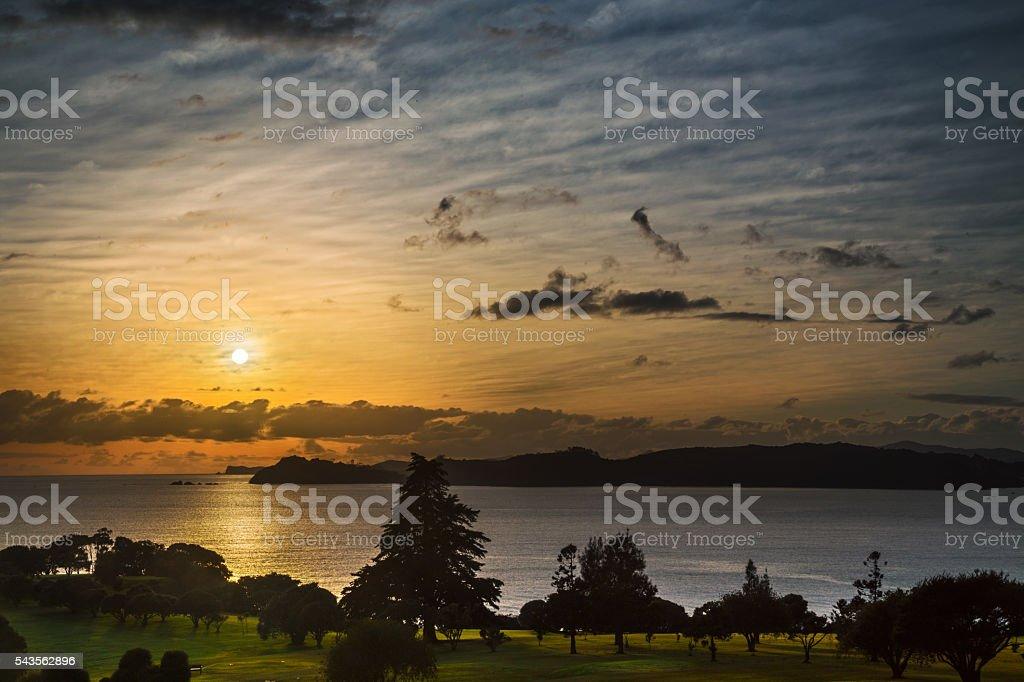 Sunrise over the scenic Waitingi grounds NZ stock photo