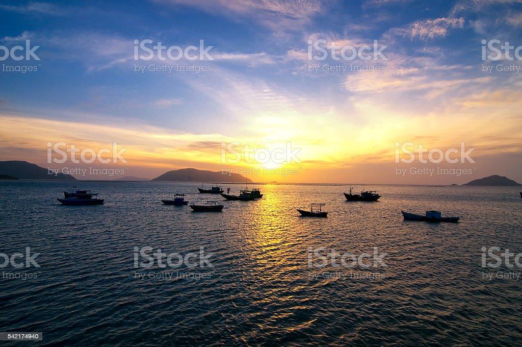 Sunrise over the sea. Cu Lao Cham. Danang. Vietnam stock photo