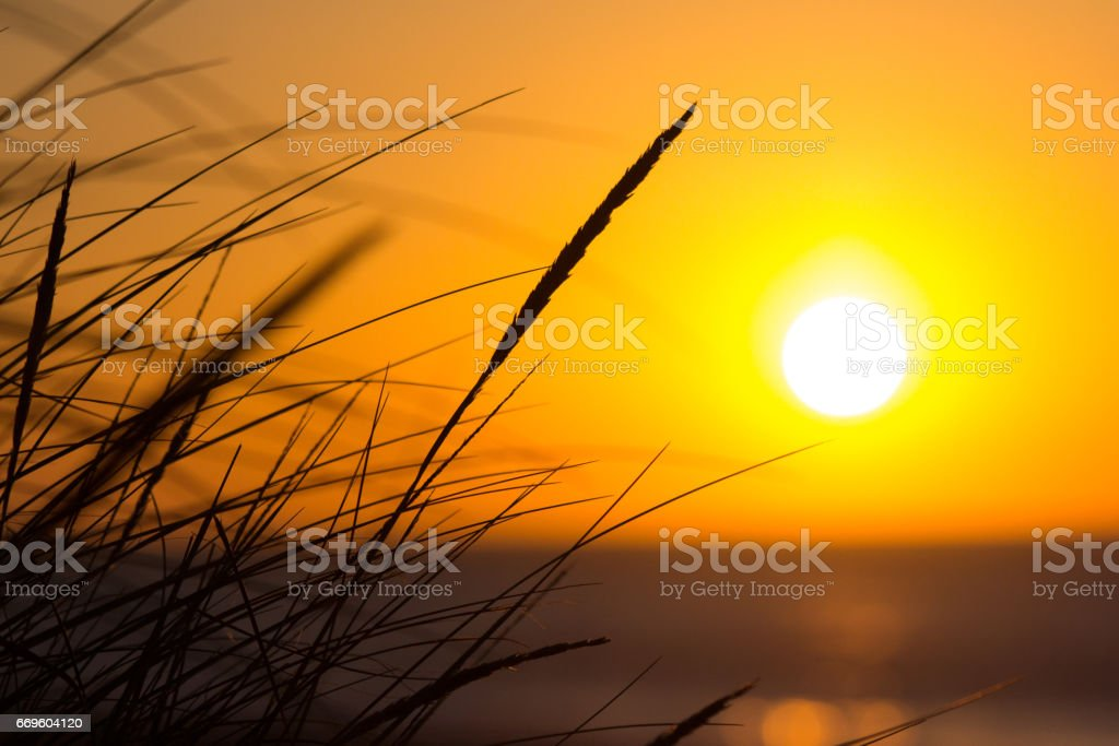 Sunrise over the Solent from Southbourne Beach stock photo