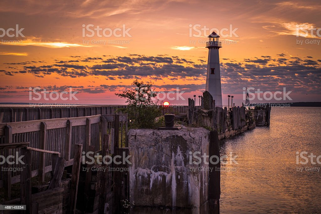 Sunrise Over The St. Ignace Waterfront District stock photo