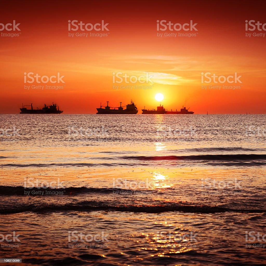 Sunrise over the Straits of Gibraltar royalty-free stock photo