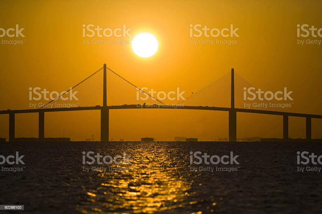 Sunrise over the Sunshine Skyway Bridge stock photo